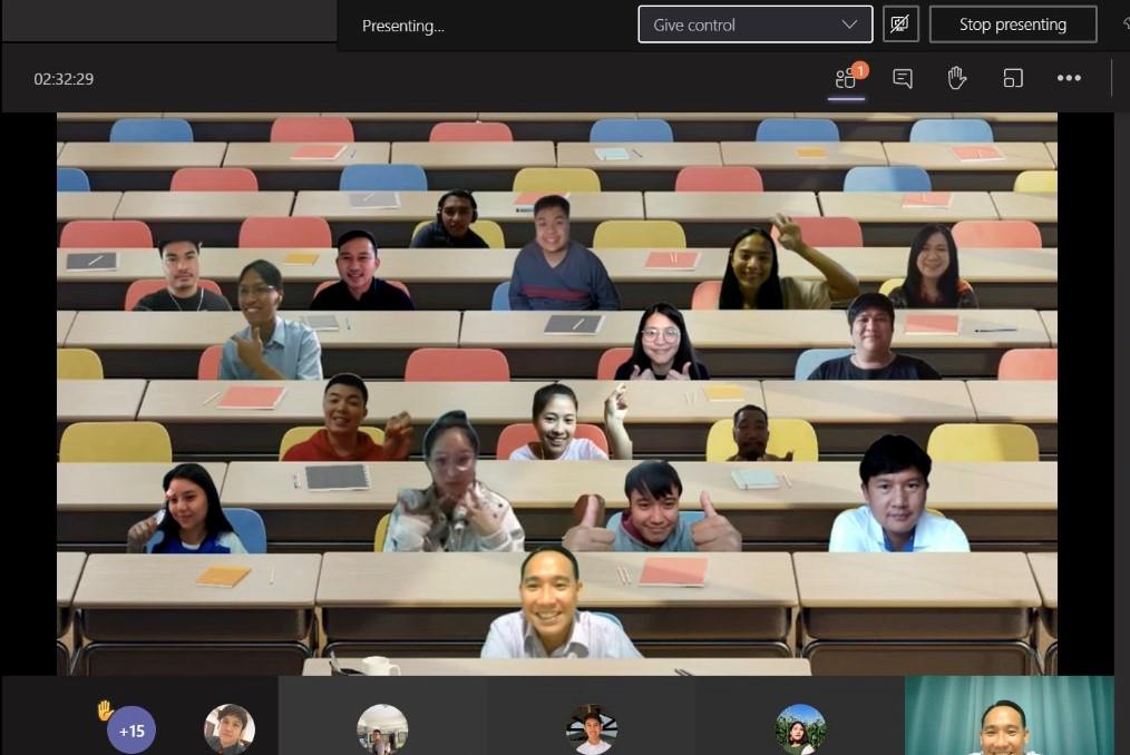online-Vorlesung mit lustigem Hintergrund